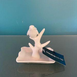 NWT! Ring Holder Creative Co-op Porcelain Bird
